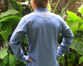 Vintage 60s Wrangler Western Denim Shirt with Vintage 70s Patriotic Star Patch on Back Size M-L