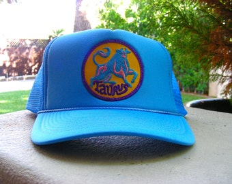 Vintage 70s TAURUS Zodiac Astrology Patch stitched on New Snapback Trucker Cap / Hat