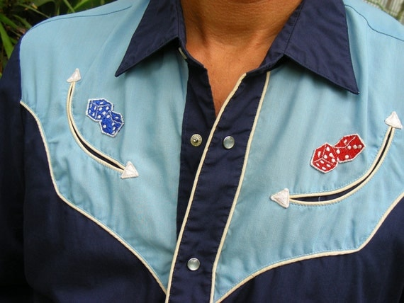 "Vintage 70s Levi's Country Western ""Old School"" Shirt with Vintage 70s Rolling Dice Patches Size XL"