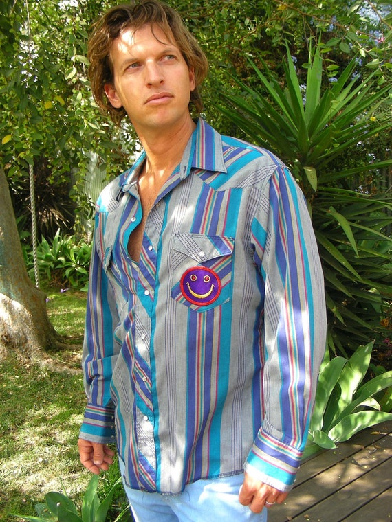 Vintage Wrangler Western Striped Shirt with Vintage 70s SMILEY FACE Patch Size L