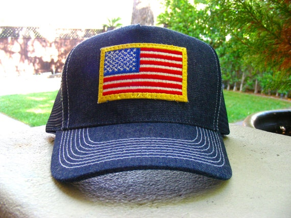 Vintage 70s AMERICAN FLAG Patch stitched on Snapback Denim Cap / Hat