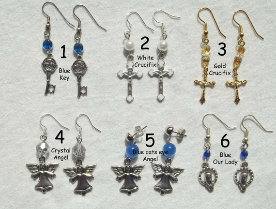 Listing for Bella - Choose 1 - Angel, Crucifix & Religious dangle fishhook earings