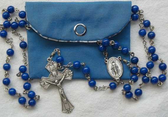 Blue 6mm Handmade First Communion Catholic Rosary w/pouch