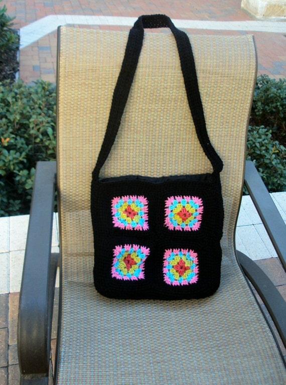 Crocheted Tote Bag / Purse - Granny Square, Retro