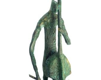 Bass player Bronze sculpture musician Hot Cast Bronze Distressed finish patina verde
