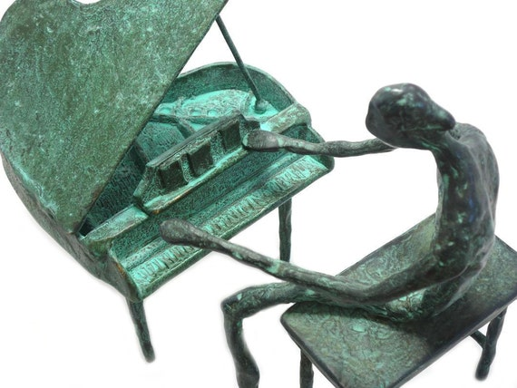 Bronze Piano Player  musical art sculpture metal green patina