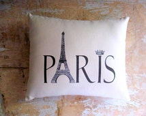 Paris Pillow, Eiffel Tower, French Decor, French Country Home, Cottage Decor, Home Decor, Decorative Pillow, Housewares