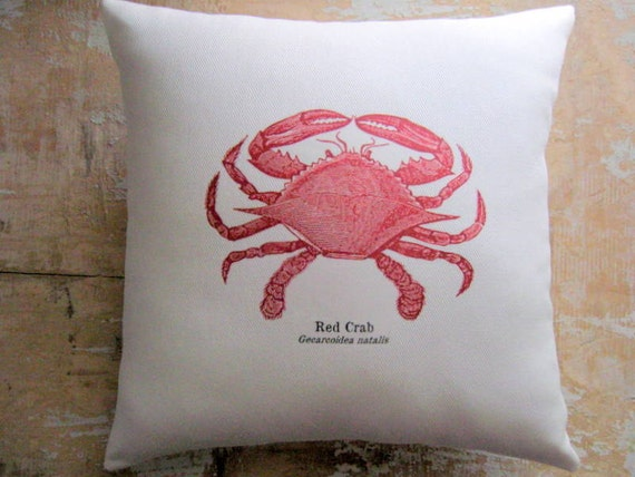 Beach Pillow, Red Crab, Beach Decor, Cottage Decor, Ocean, Nautical, Home Decor, Decorative Pillow, Housewares