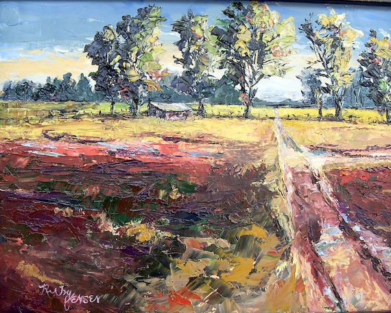 County Road 12 x 9 inch framed oil painting