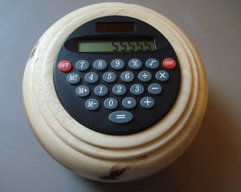 Solar Desk Calculator Walnut Wood Turning Free Shipping
