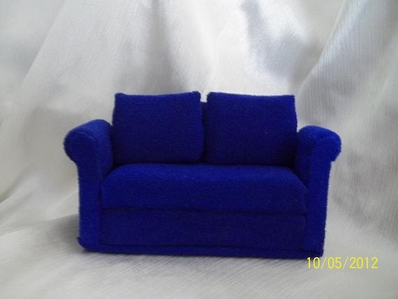 Dollhouse 1:12 Scale Blue Sofa