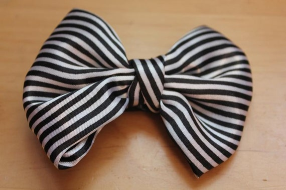 Black & White Stripe Big Hair Bow on Alligator Clip