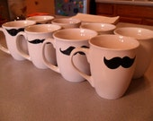 Set of EIGHT Mustache Mug Very Cute By Michelle Dunlap