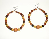 Multi-Colored Earth Tone Large Wooden Hoops