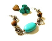 Turquoise and Tiger Eye Two Toned Linked Rings Bracelet