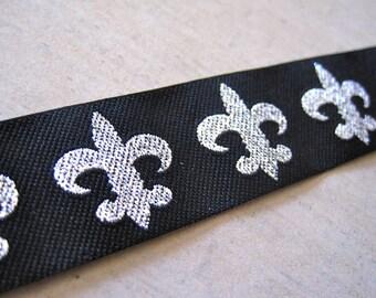 Black and Silver Fleur De Lys Ribbon Trim 3 Foot Length by BySupply
