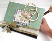 RESERVED Wedding Notebook with Vintage Frame & Gold Rings featuring Flower Butterfly Journal by ZILLAS QUEEN