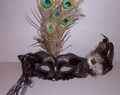 Handmade Peacock Masquerade/Halloween/Costume Mask with Band One Size