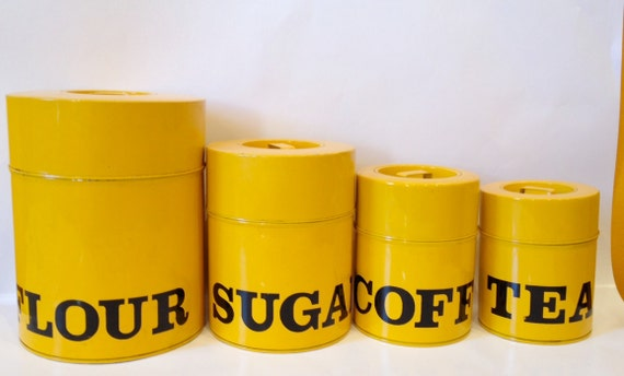 Vintage Retro Yellow metal Kitchen Kitschy Canisters