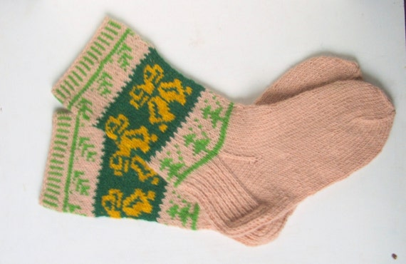 Christmas stocking,  wool SOCKS  with Christmas pattern  - gift WRAPPING for FREE