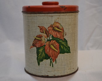Vintage Metal Decoware Canister Storage Tin