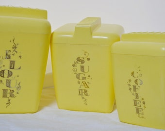 Vintage Plastic Canister Set - Yellow