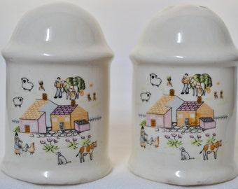 Vintage Stoneware Salt & Pepper Shakers - Farm - Set