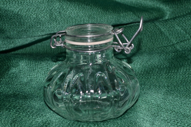 vintage glass storage jar with clamp lid by grannysbackporchvint. Black Bedroom Furniture Sets. Home Design Ideas