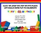 Lego Inspired Birthday Invitation -Digital File