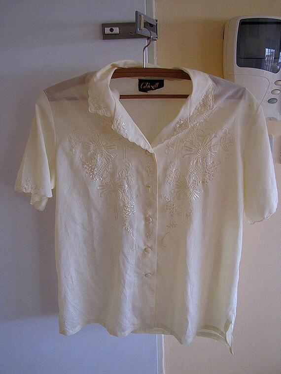 FINAL SALE Vintage Women 100% Silk High Quality Blouse Short Sleeve Size 40