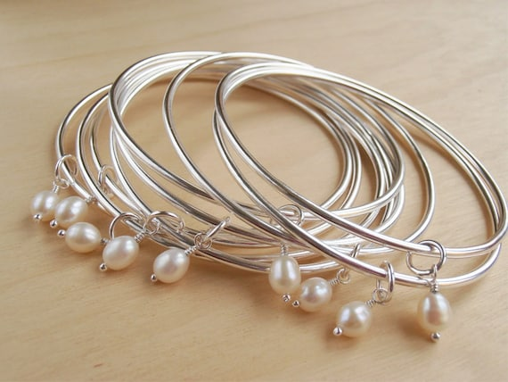 Silver Bangle & Freshwater Pearl - Bridesmaid Gifts, Wedding Jewellery - Sterling Silver