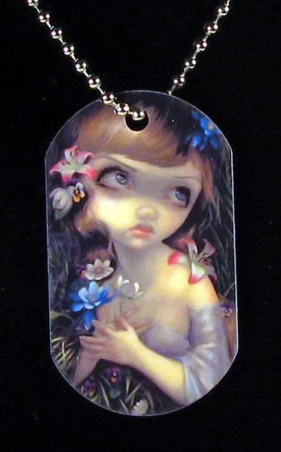 Jasmine Becket-Griffith Art Dogtag Necklace Portrait of Ophelia and Microcosm: Fawn shakespeare fairy