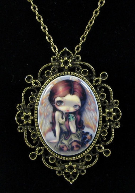 Jasmine Becket-Griffith Art Cameo Necklace Angel with Emeralds goth gem fairy