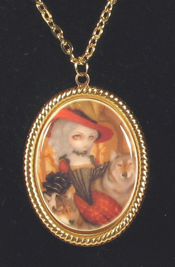 Jasmine Becket-Griffith Art Cameo Necklace Loup-Garou: d'Automne french werewolf autumn fairy