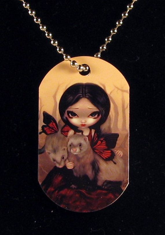 Jasmine Becket-Griffith Art Dogtag Necklace Red Butterfly Ferrets and Winged Ferret fairy