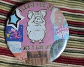 Handmade Collage Pinback Button 2 1/4 inch. Peace, Cruelty Free, Vegan, Cute Kawaii, Fun Gift. Unique OOAK Ready to Ship Eco Friendly