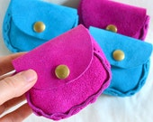 Vintage Leather Coin Purse. Choice of color Magenta or Blue Colored Suede w/ Brass Metal Snap. Hand Assembled. Eco Friendly Shipping