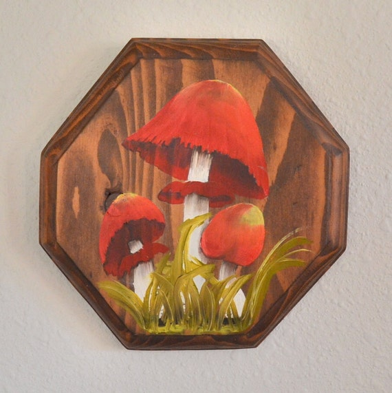 Mushroom Vintage Wooden Wall Hanging.  Wood Plaque Hand Painted Red Magic, Grass. Woodland Spring Fall Mushrooms Gift