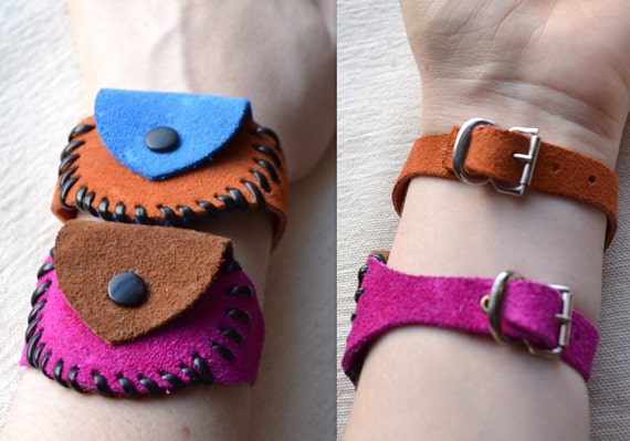 Vintage Leather 20% SALE Wrist Bracelet Coin Purse. Choose Blue or Magenta Suede w/ Metal Snap Hand Assembled. Eco Friendly Shipping