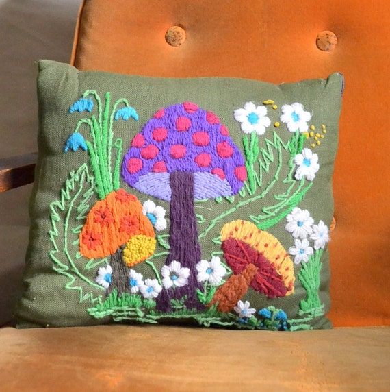 Mushroom Vintage Embroidered Pillow. Mushroom, Ferns & Flowers Hand Stitched Embroidery. Colorful Woodland Theme. Eco Friendly Shipping
