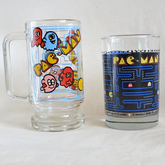 Vintage Pac Man Glass x2. Beer Stein Mug Rare & Tumbler Cup. Perfect Condition 1980 Old School Father's Day Gift. Bar Ware