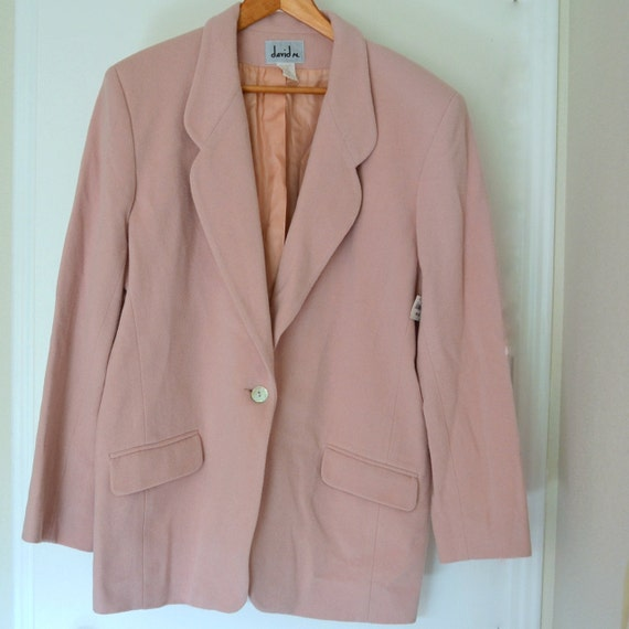 Vintage Pink Blazer Long Suit Jacket. Recycled Cashmere & Wool. Women Size 16 US Abalone Shell Button. Perfect Condition. Original Price Tag