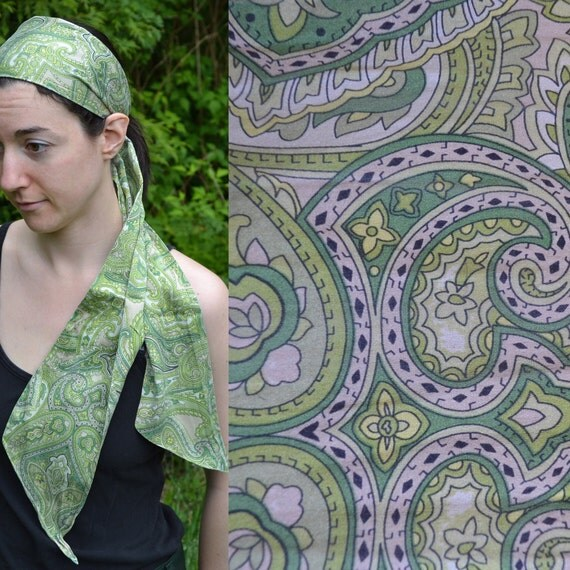 Vintage Green Paisley Long Silk Scarf, Head Scarf, Wrap, Neck or Belt. Lime Sage Dark Green, Mix of Greens.