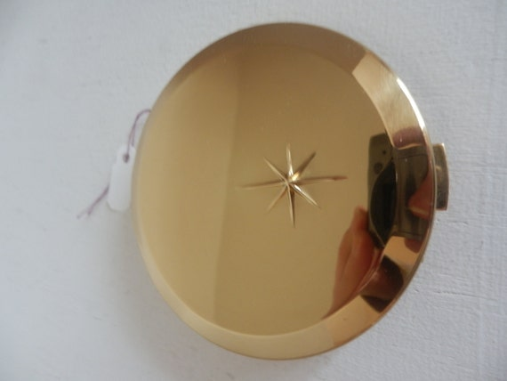 Vintage Retro Atomic Era Starburst Gold Tone Cosmetic Compact Collectible by Max Factor