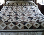 Lap Quilt in Browns, Black and Light Tan