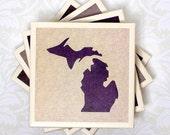 Michigan Purple, Cream & Brown Set of 4 Coasters