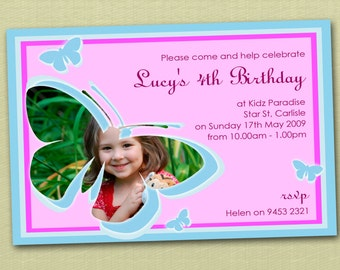 Butterfly Birthday Invitations - You Print
