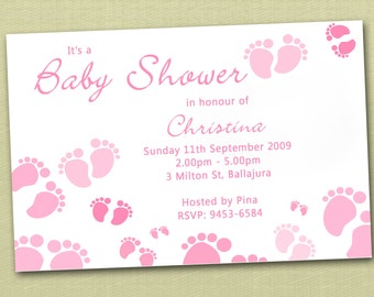 Personalised Baby Feet Baby Shower Invitations - You Print