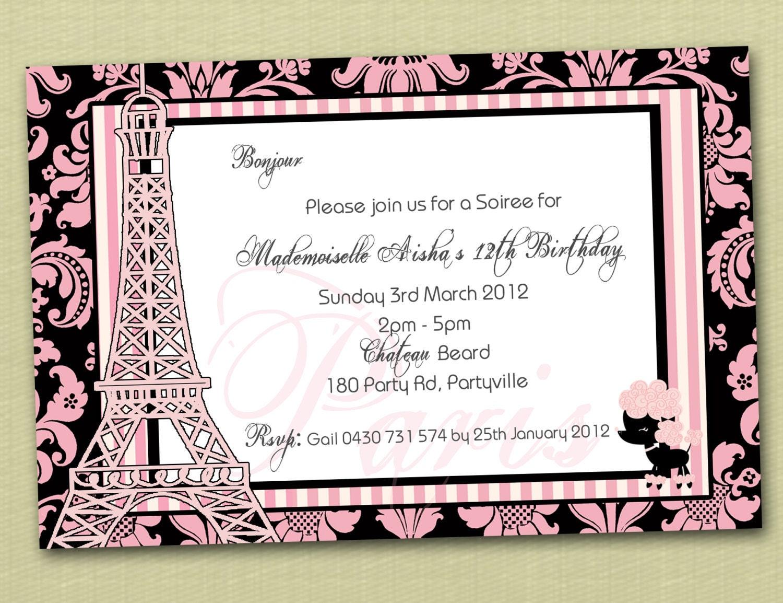 Paris Themed Personalised Birthday Invitation YOU PRINT