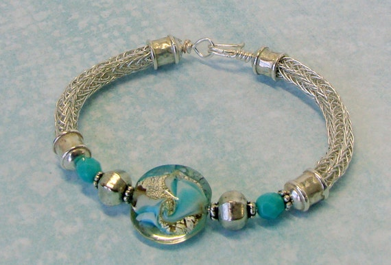 Double Viking Knit Bracelet Lamp Work Focal Bead with Sterling Inclusions